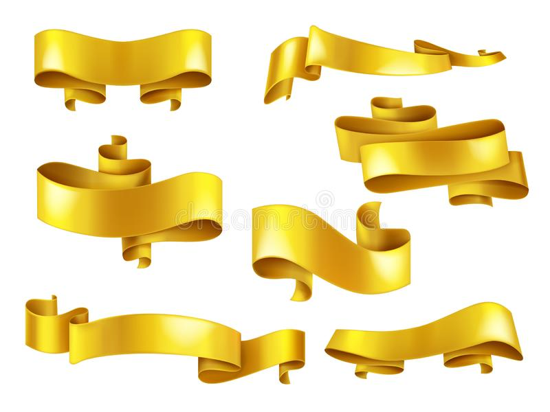 与copyspace现实传染媒介集合的金黄丝带 向量例证