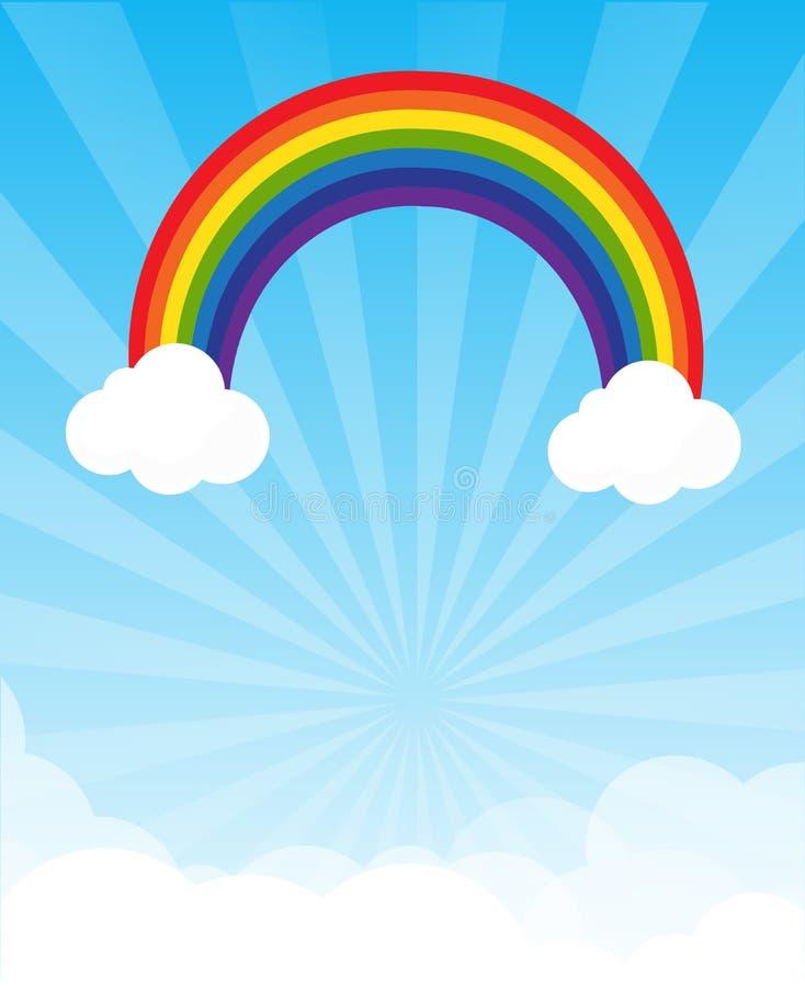 与copyspace的镶有钻石的旭日形首饰和蓝天和彩虹背景 皇族释放例证