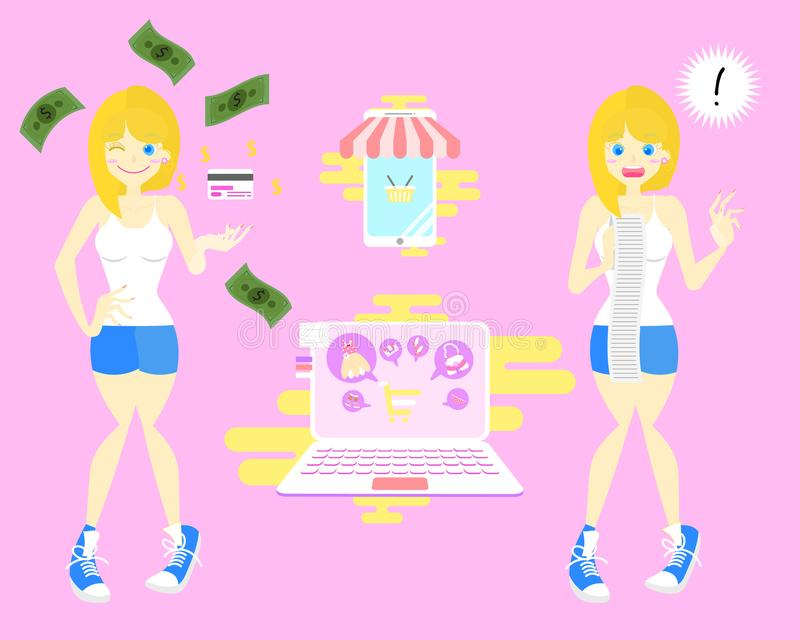与cradit卡片和震惊妇女的网络购物在桃红色背景中的举行和看一个大信用卡帐单概念 皇族释放例证
