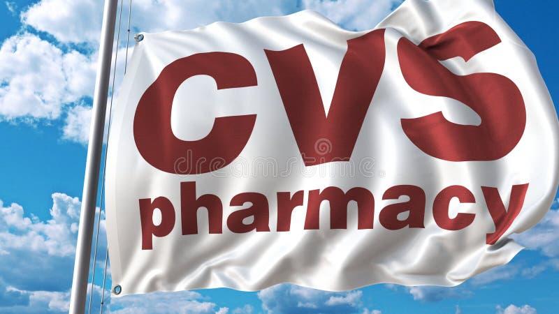 与Cvs药房商标的挥动的旗子反对天空和云彩 社论3D翻译 向量例证