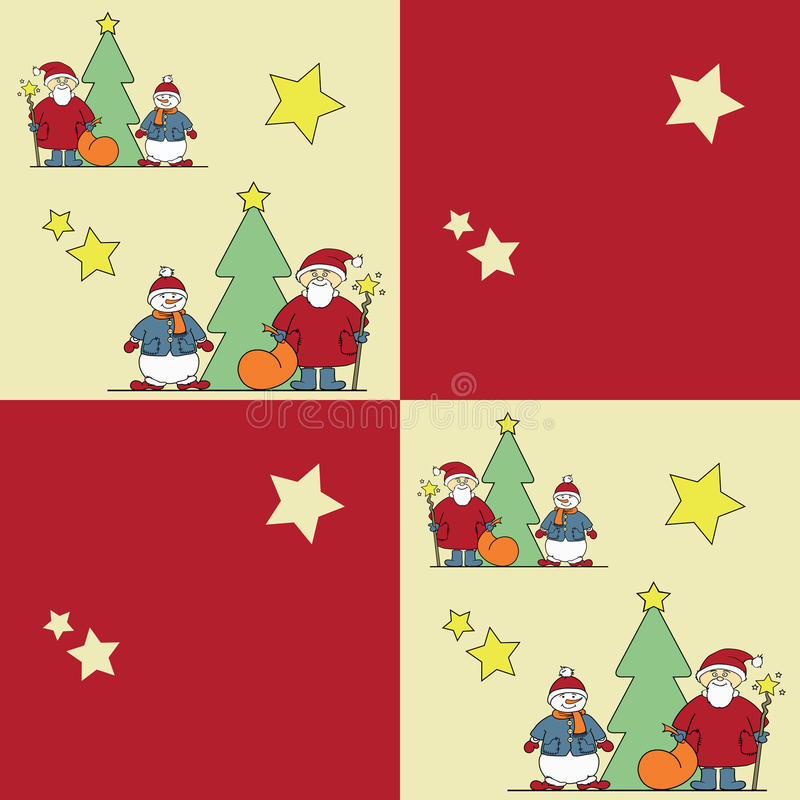 与dedomorozom、雪人和圣诞树的五颜六色的图片 库存例证