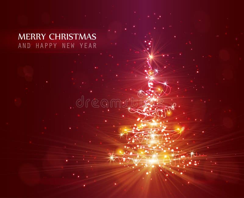 与defocused光的圣诞树 红色背景 库存例证