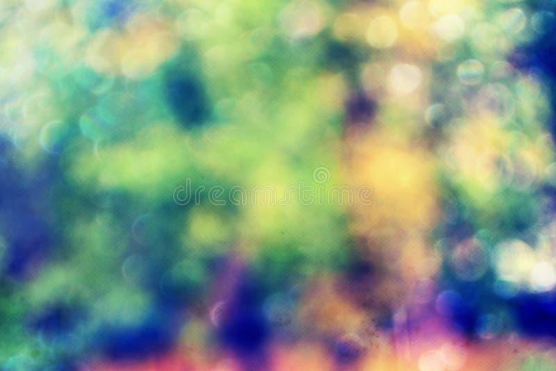 与defocused光的抽象bokeh与明亮的冷的口气的背景和阴影 库存照片