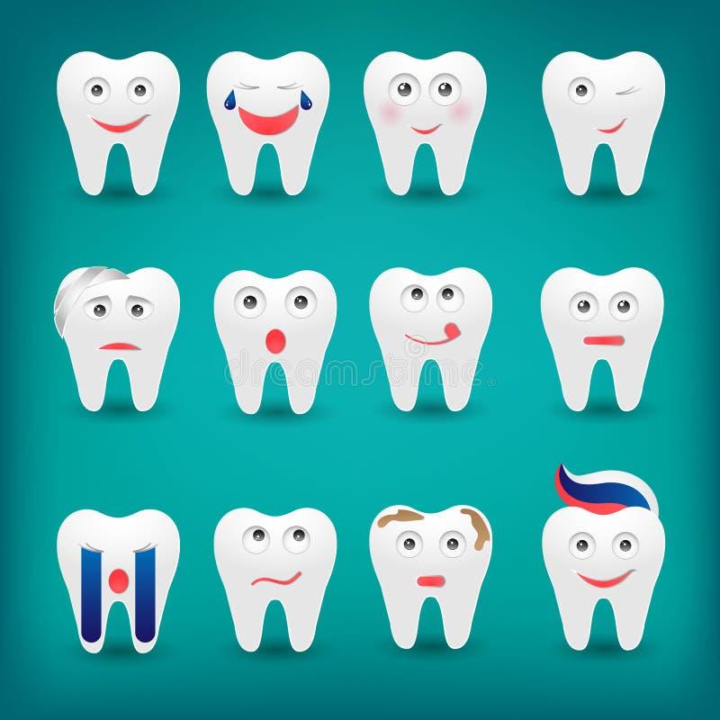 与differe的医疗保健平的样式动画片逗人喜爱的牙字符 向量例证