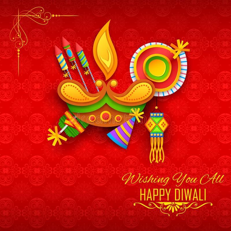 与diya的愉快的屠妖节印度的轻的节日的背景和爆竹 向量例证