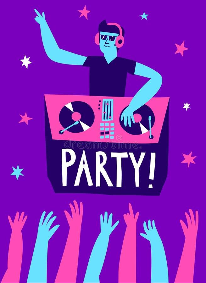 与DJ海报的党 库存例证