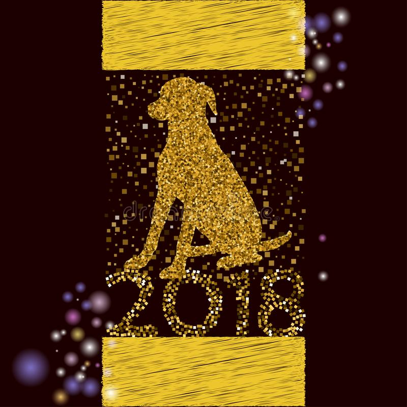 与dogg的新年快乐2018年背景 库存例证