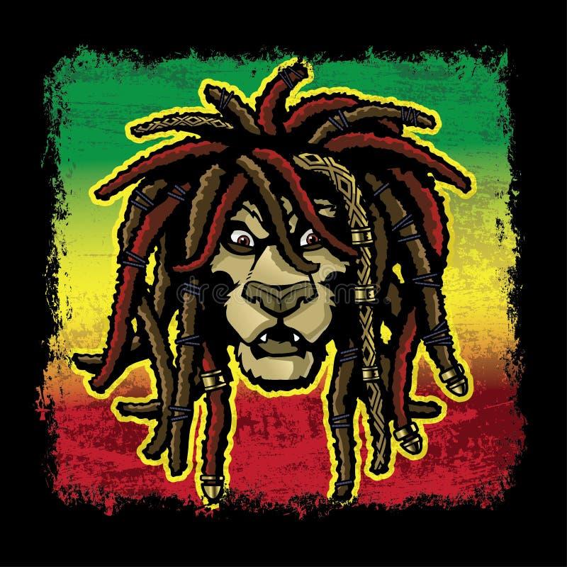 与Dreadlocks的Rastafarian狮子 库存例证