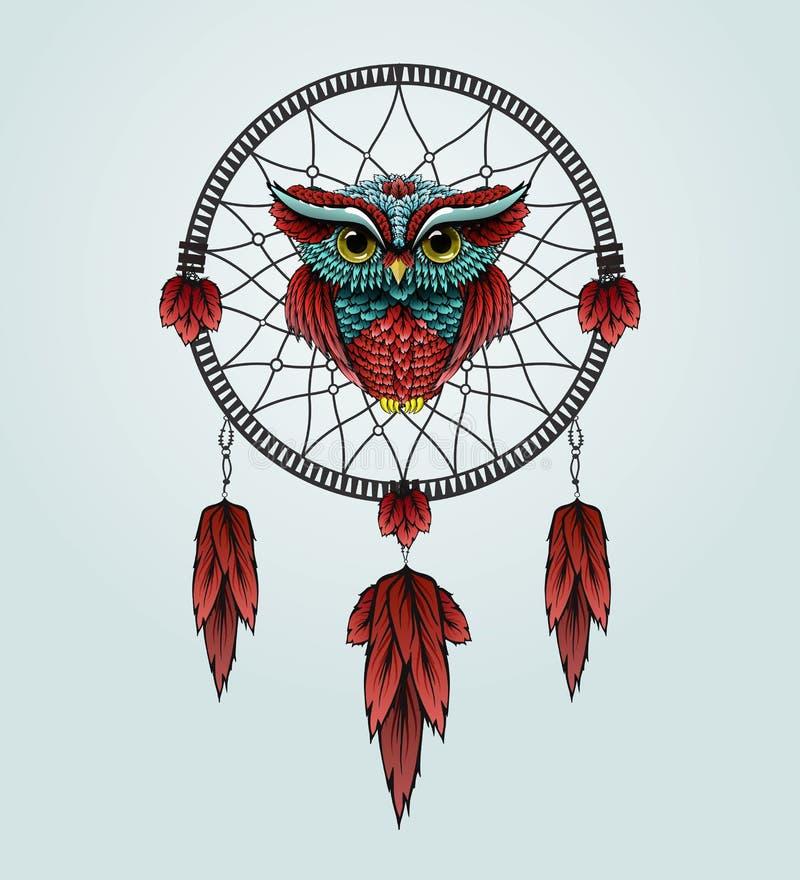 与Dreamcatcher的猫头鹰在白色背景 免版税库存图片