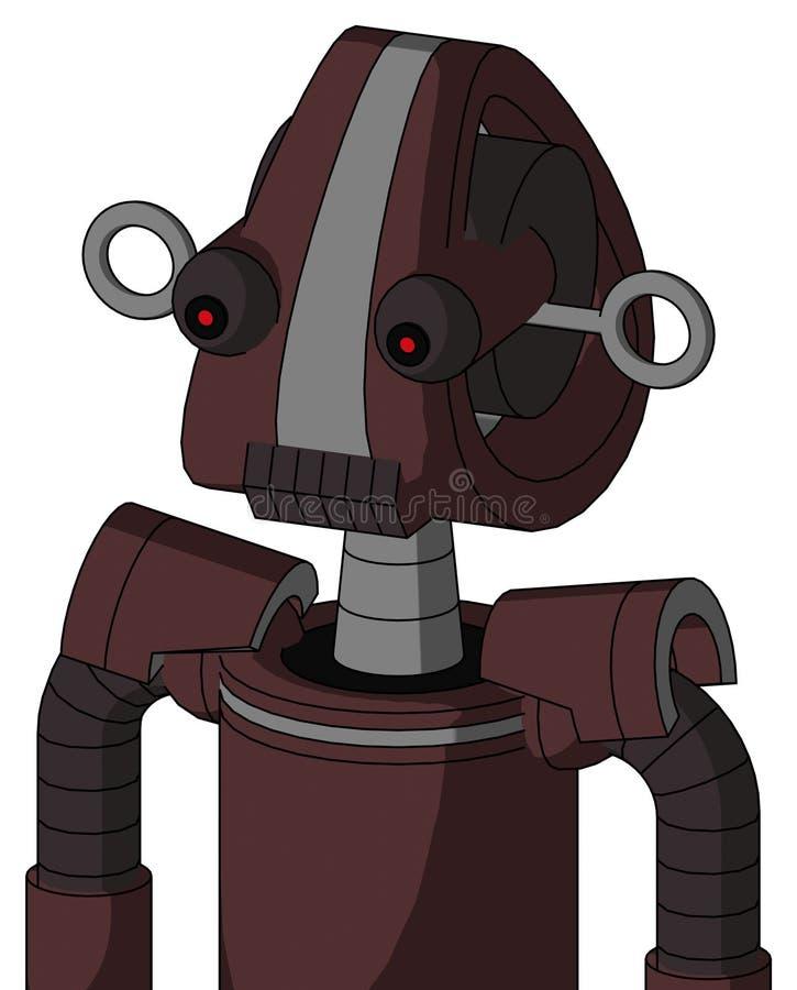 与Droid头和黑暗的牙嘴的紫色Droid和红眼睛 向量例证