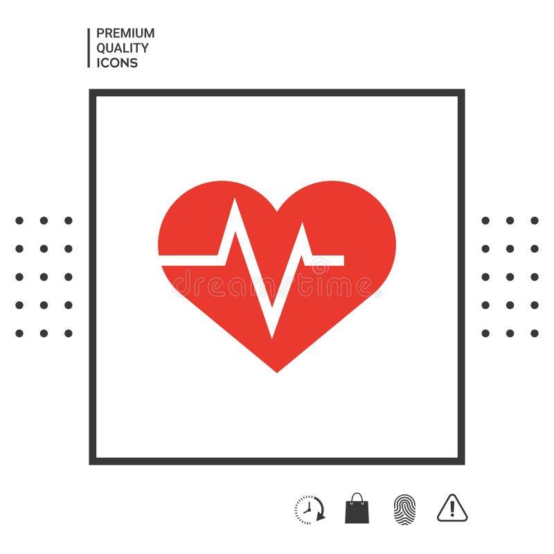 与ECG波浪的心脏-心电图标志 黑色更改图标肝脏医疗保护白色 向量例证