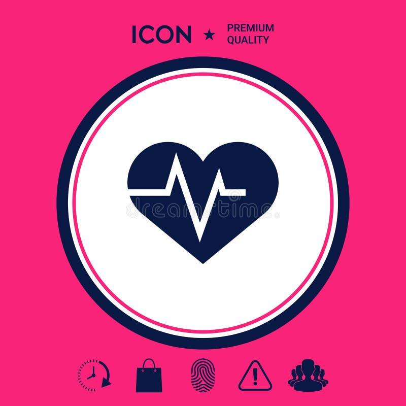 与ECG波浪的心脏-心电图标志 黑色更改图标肝脏医疗保护白色 皇族释放例证