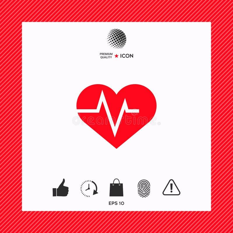 与ECG波浪的心脏-心电图标志 黑色更改图标肝脏医疗保护白色 库存例证
