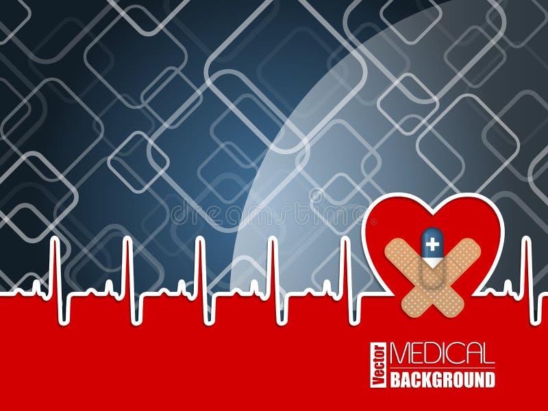 与ekg心脏和蓝色药片的医疗背景 向量例证