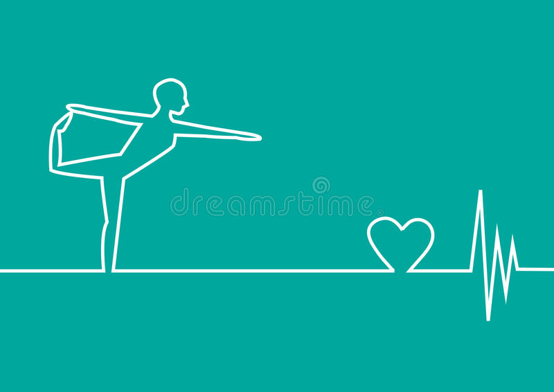 与EKG心脏的瑜伽锻炼在绿色背景,设计 向量例证