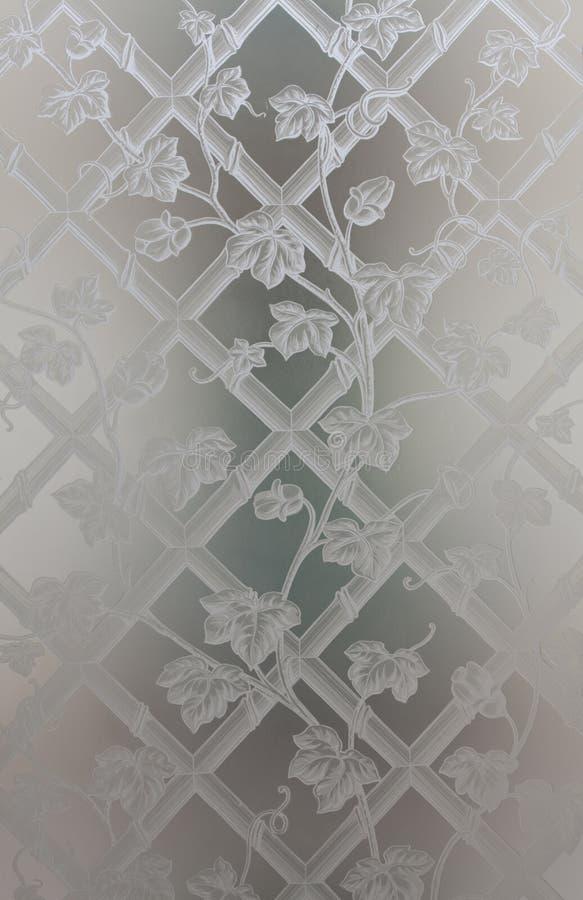 与endraved的拉长的花的装饰不透明的玻璃 库存照片