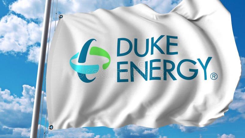 与Energy公爵商标的挥动的旗子 Editoial 3D翻译 皇族释放例证