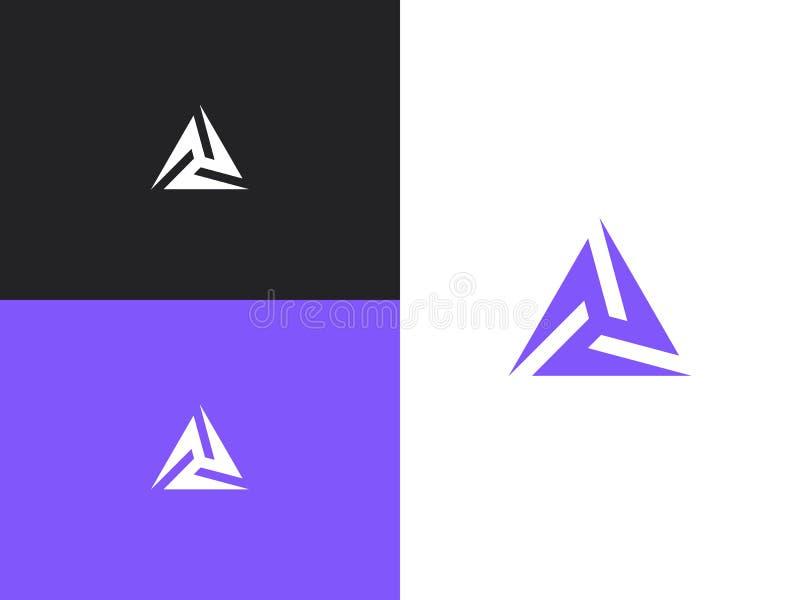 与ethno样式的Minimalistic三角几何商标 皇族释放例证