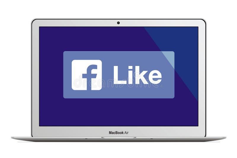 与facebook商标的苹果计算机MacBook空气 皇族释放例证