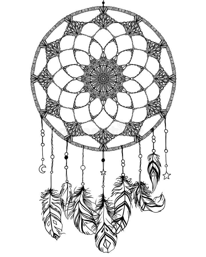 与fea的手拉的当地美洲印第安人护符dreamcatcher 皇族释放例证