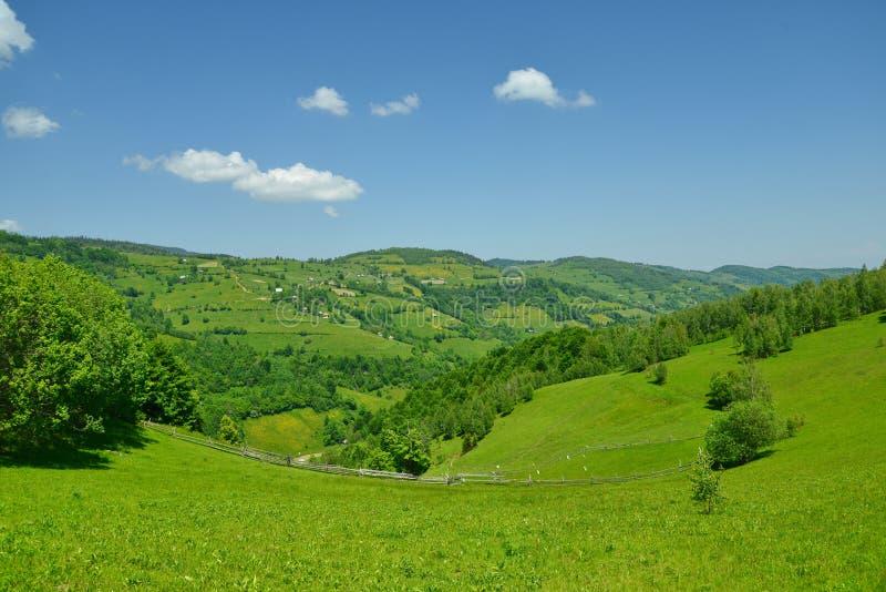 与fileds和山的风景 免版税库存图片