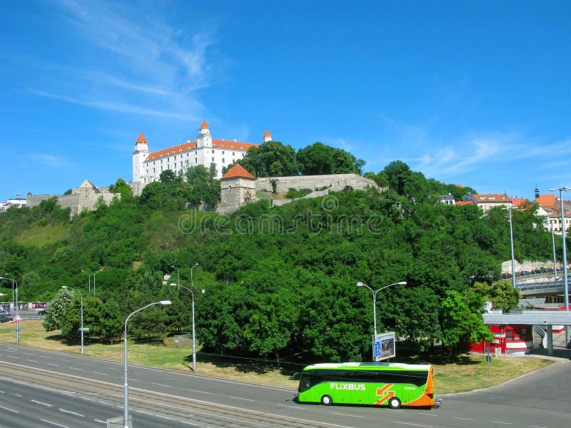 与Flixbus,布拉索夫的公共汽车旅行 免版税图库摄影
