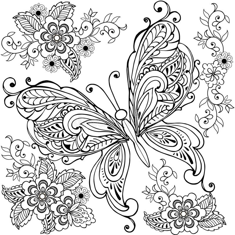 与florals的手拉的装饰蝴蝶反重音着色页的 向量例证