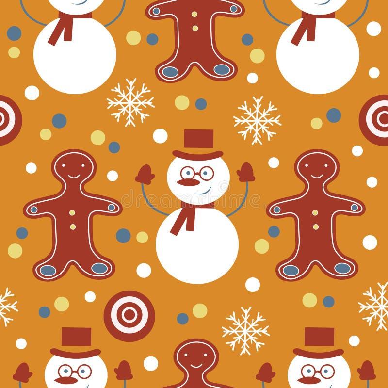 与frosties和姜饼的逗人喜爱的五颜六色的无缝的样式 向量例证