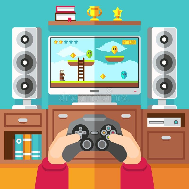 与gamepad的少年赌博电子游戏和playstation导航例证 向量例证