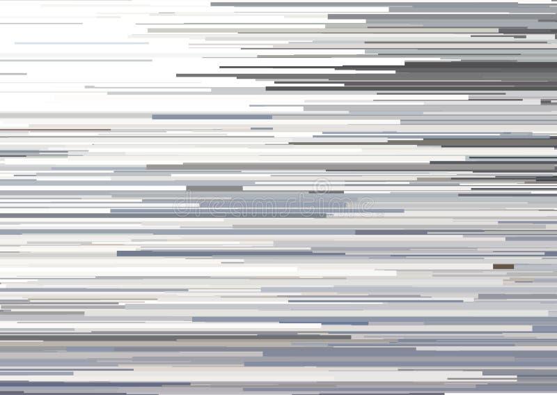 与glitched水平的条纹,流线的抽象背景 信号错误美学的概念  皇族释放例证
