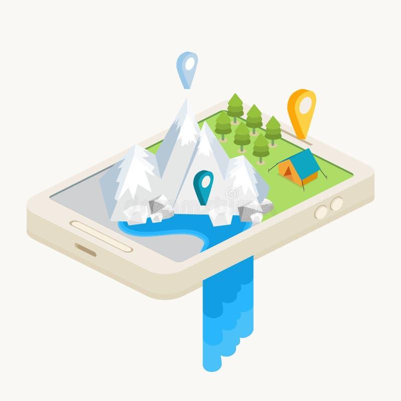 与GPS航海的一张流动地图 向量例证