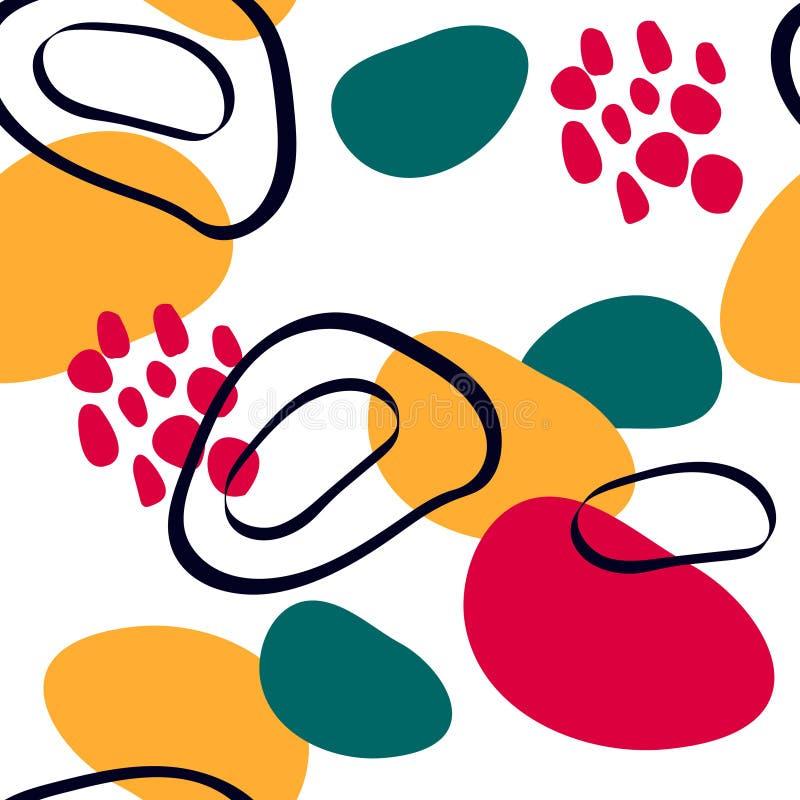 与graphyc元素-现代抽象形状的抽象无缝的样式:线;螺旋;圈子 几何墙纸为 库存例证