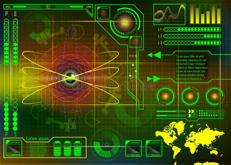 与Hud的技术概念, Gui设计元素 原子平视显示的D 皇族释放例证