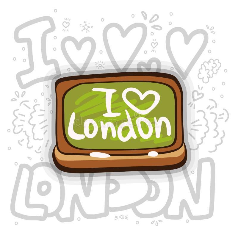 与I爱伦敦题字的校务委员会 我爱与绿色校务委员会的伦敦概念并且用粉笔写 动画片传染媒介 皇族释放例证