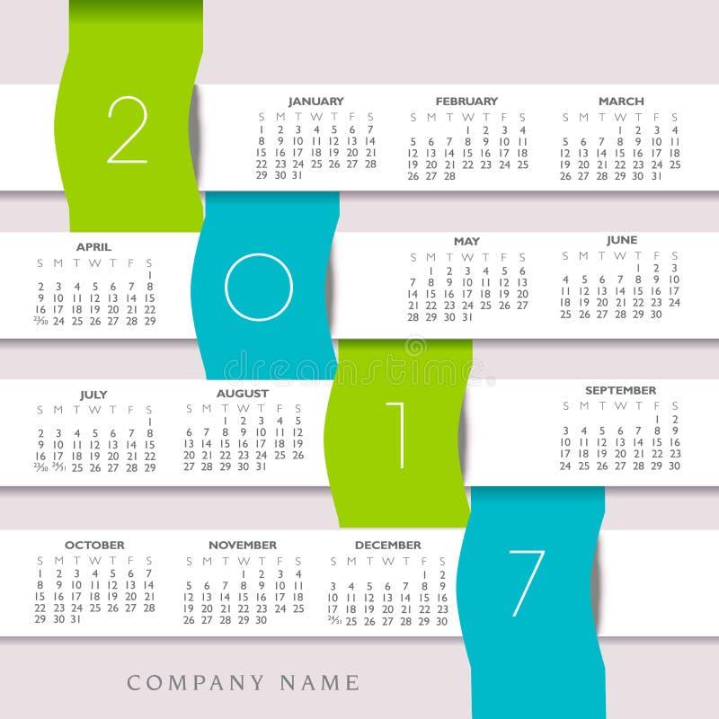 2017与Infographic横幅的五颜六色的创造性的日历 皇族释放例证