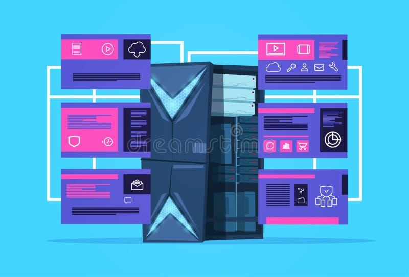 与infographic的主服务器,网络和数据库,互联网中心的数据保护支持计算中心 皇族释放例证
