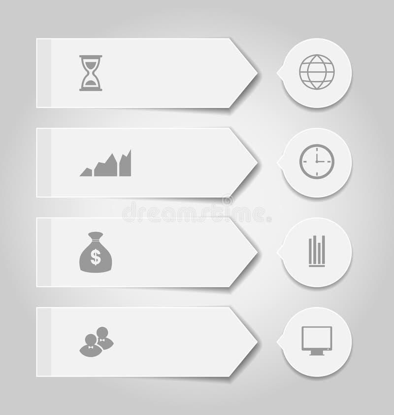 与infographic象的集合现代企业横幅 库存例证
