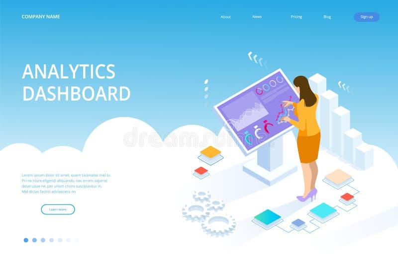 与infographics的等量数字显示器 在大显示的女性身分 企业协助的概念 库存例证
