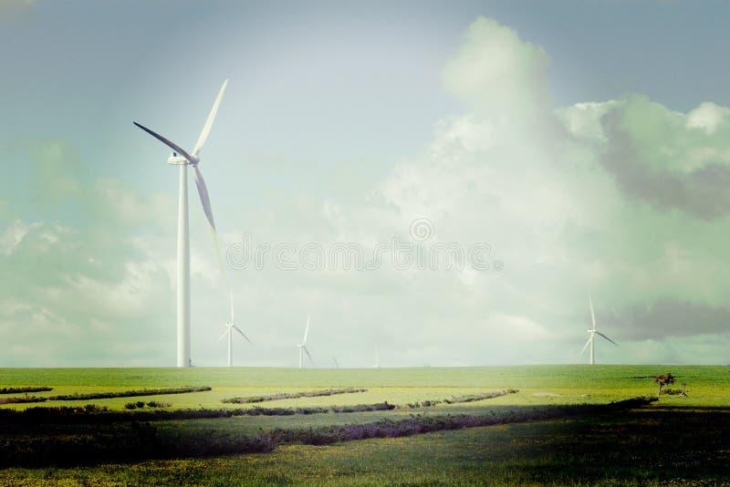 与Instagram作用的Windfarm 免版税库存图片