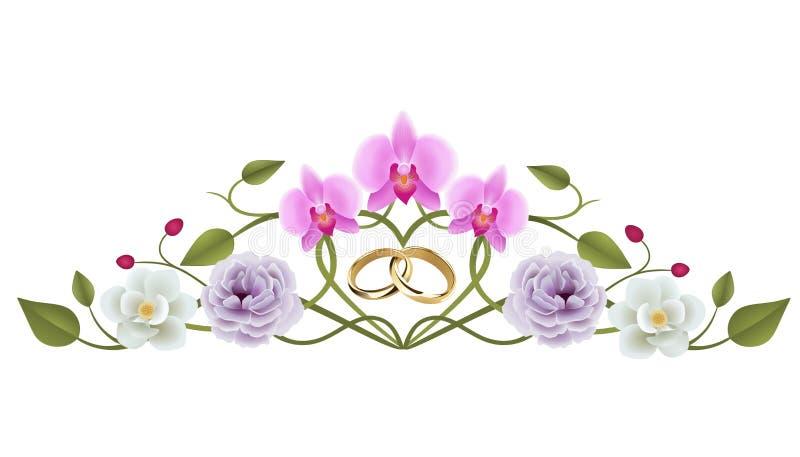 与interwined结婚戒指的花卉婚姻的装饰 皇族释放例证