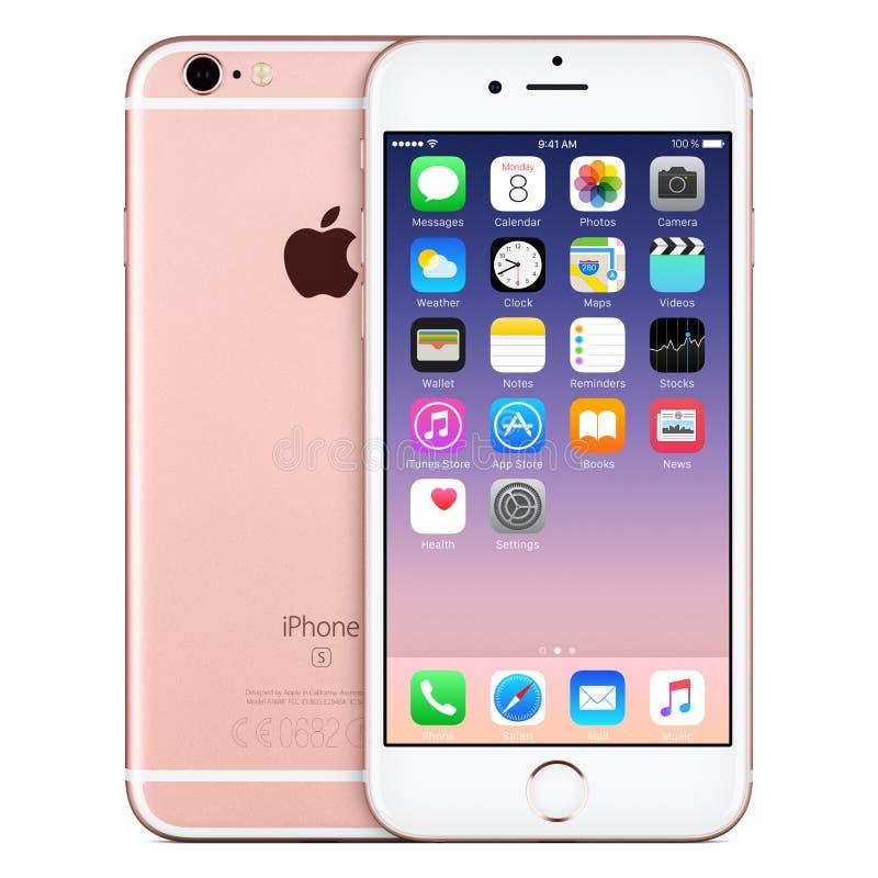 与iOS 9的罗斯金苹果计算机iPhone 6s正面图在屏幕上 免版税库存照片