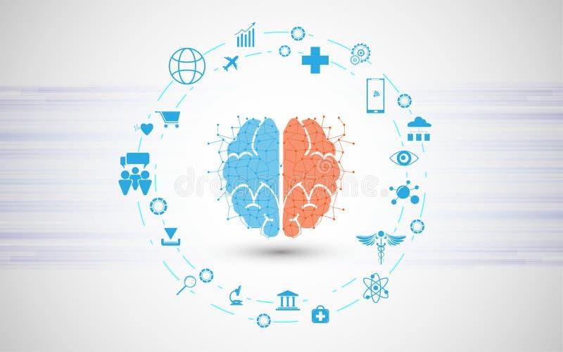 与IOT象技术概念的抽象人工智能脑子 向量例证