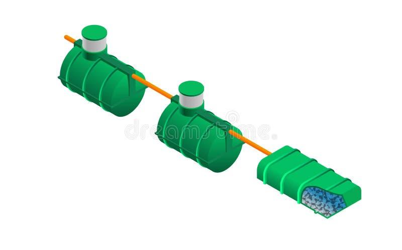 与isometry的化粪池模型 库存例证