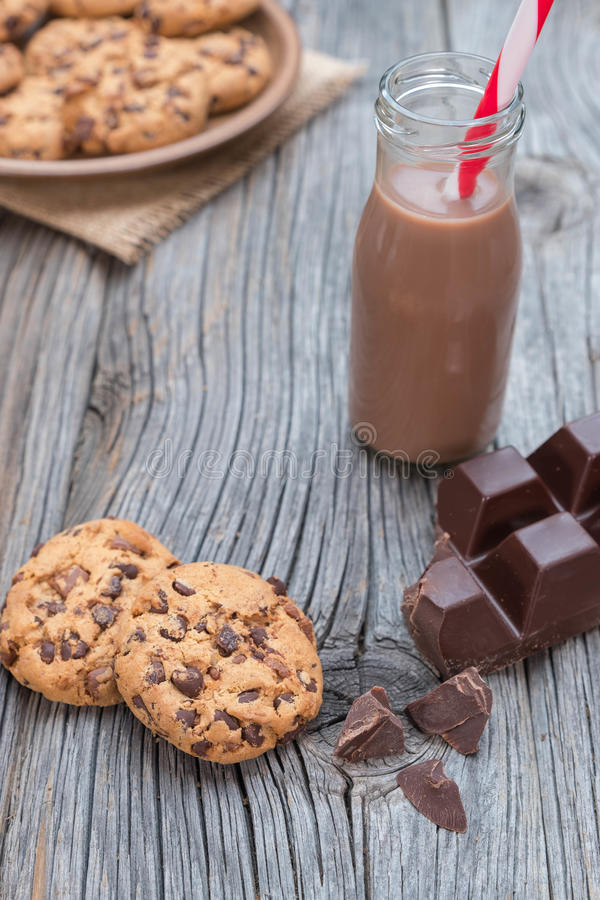 与kakao的巧克力片coockies 库存图片