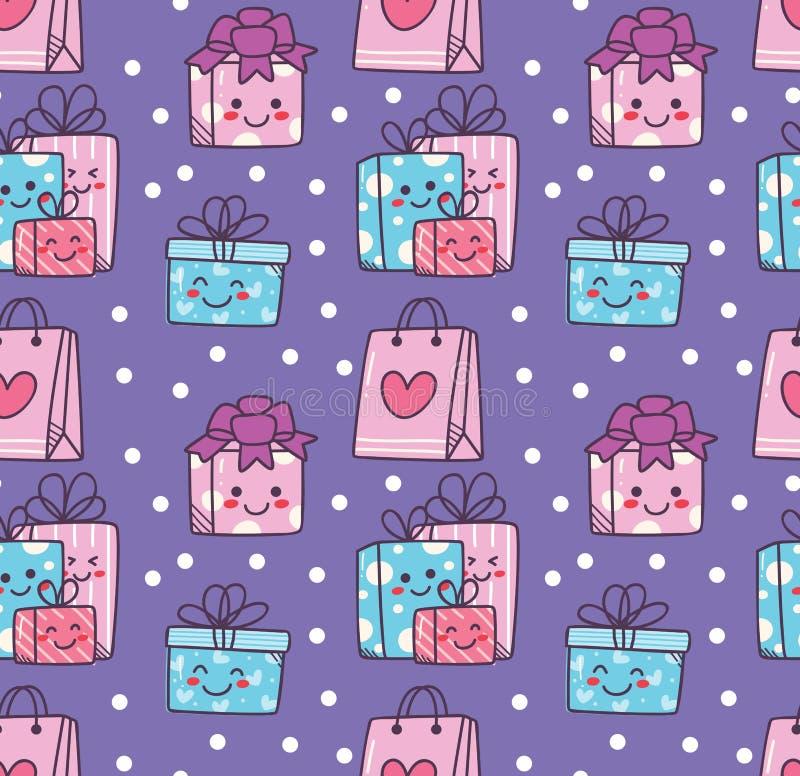 与kawaii礼物盒的生日乱画无缝的背景 向量例证
