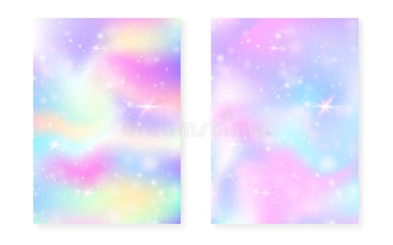 与kawaii魔术梯度的独角兽背景 公主彩虹 库存图片