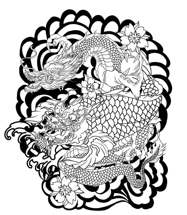 与koi龙和莲花纹身花刺的龙 与佐仓的桃子和李子在云彩背景开花.
