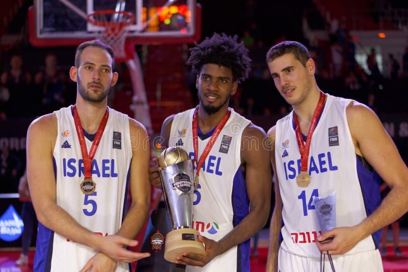 与Kondrashin别洛夫杯的以色列国家蓝球队 库存图片