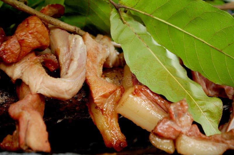与Kosambi叶子的水多的BBQ猪肉 库存照片