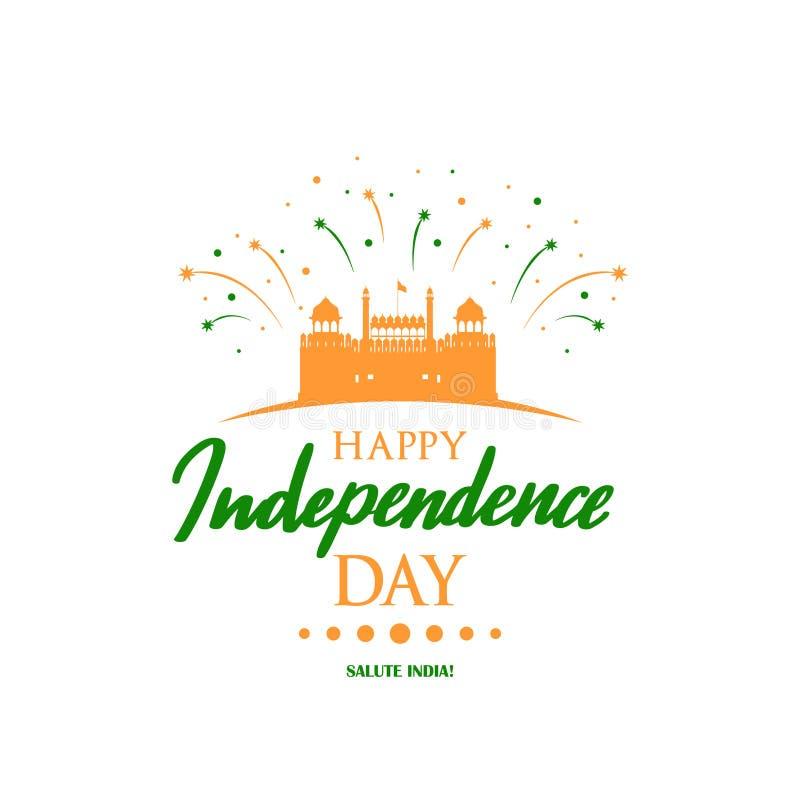 与Lal Qila例证的贺卡庆祝的印度的美国独立日 皇族释放例证
